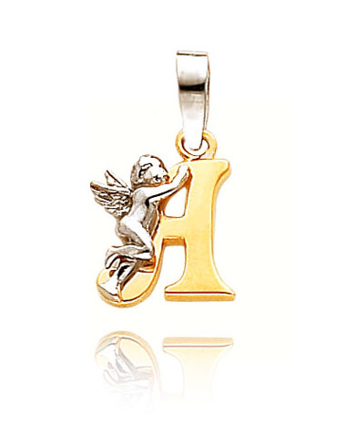 Gold Angel Initial A Pendant