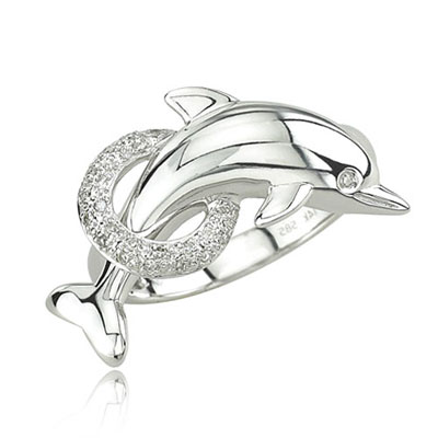 White Gold Diamond Dolphin Ring