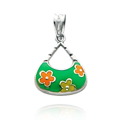White Gold Enameled Flower Handbag Charm