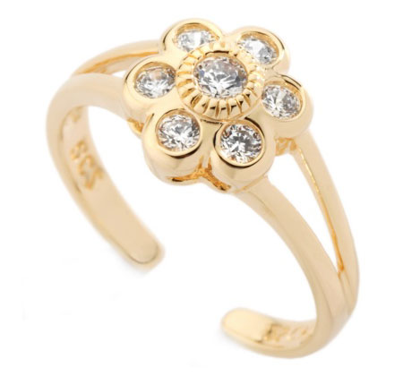 Toe Rings Designs in Gold Gold Flower Toe Ring