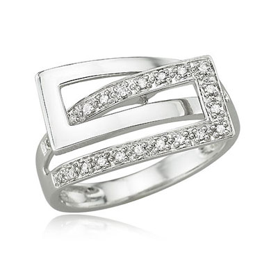 White Gold Interlocking Shank Ring
