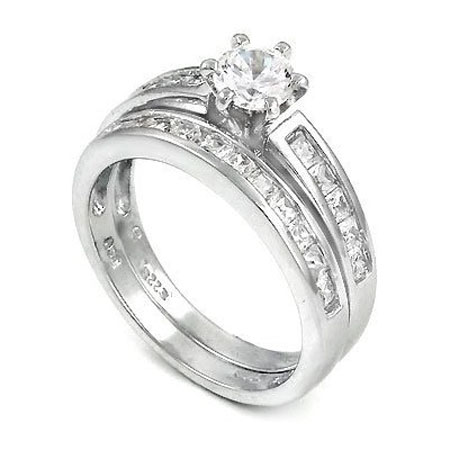 Silver CZ Engagement Ring Set