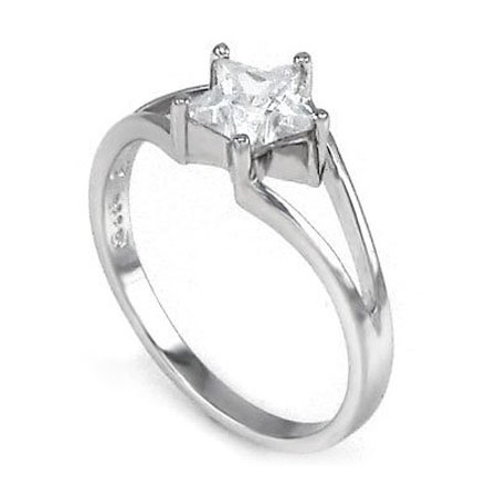 Silver Star CZ Engagement Ring