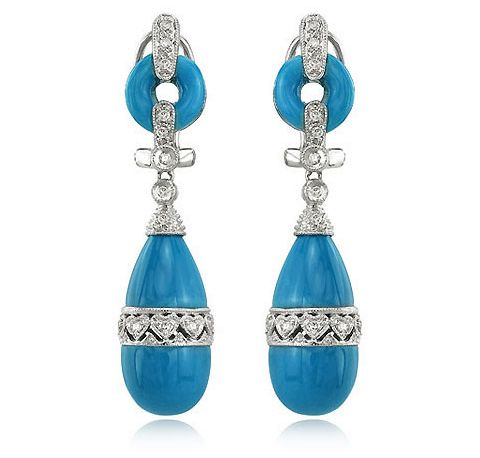 White Gold Turquoise Earrings