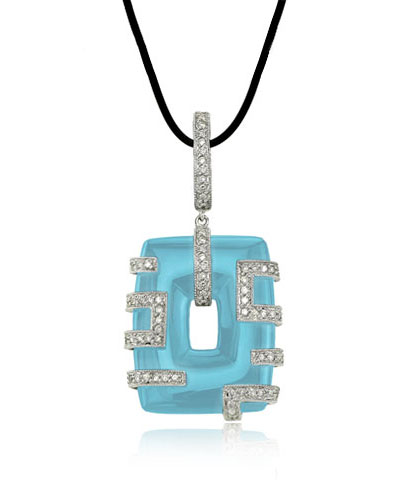 White Gold Rectangle Turquoise Necklace