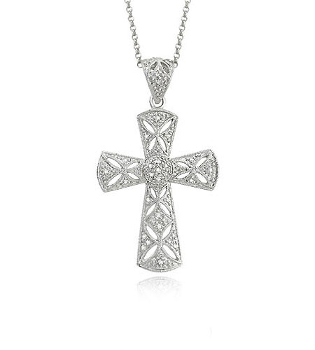 White Gold Large Diamond Cross Pendant